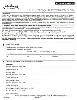 John Hancock Annuities - 1035 Exchange, Rollover or Transfer Form